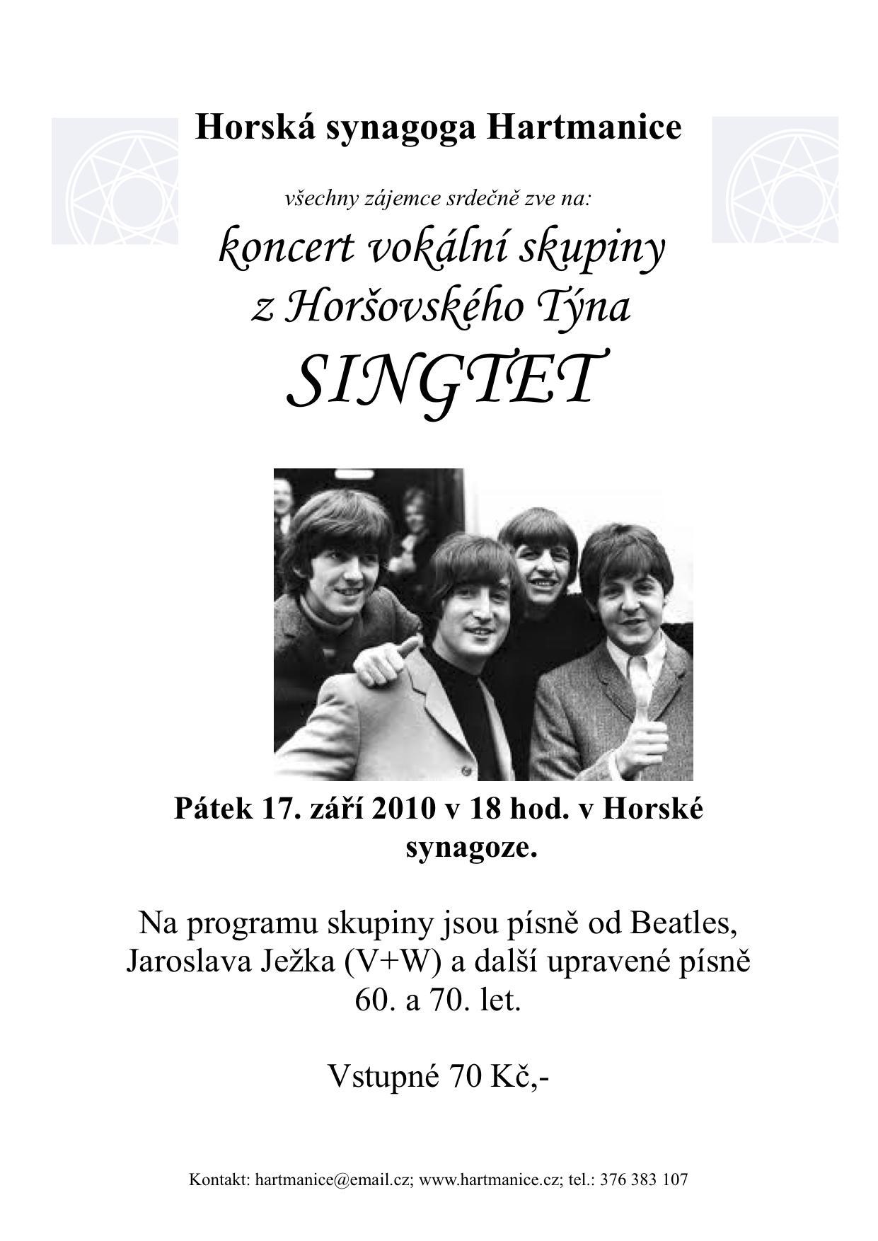 Pozvánka na konzert skupiny Singtet
